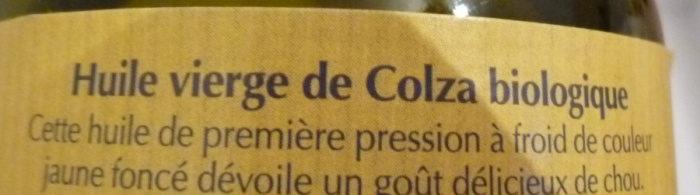 Huiles vierge biologique de Colza - première pression à froid - Ingrédients