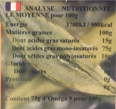 HUILE D'OLIVE EXTRA FRUITEE - Informations nutritionnelles - fr