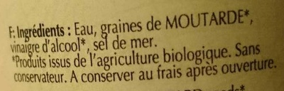 Moutarde forte de Dijon - Ingrédients