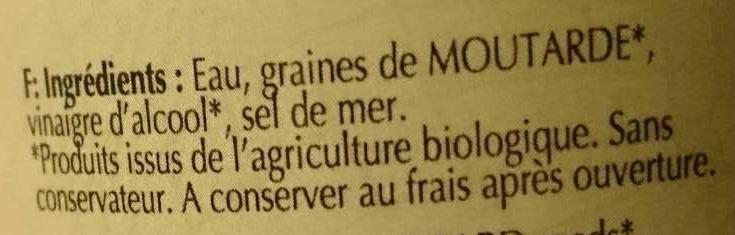 Moutarde de Dijon forte - Ingrédients - fr