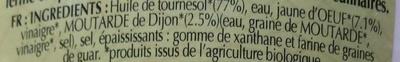 Mayonnaise nature biologique - Ingrédients