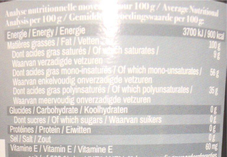 Huile cuisson désodorisée - Informations nutritionnelles - fr