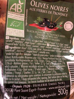 Olive Noires Herbes De Prov Sachet - Informations nutritionnelles - fr