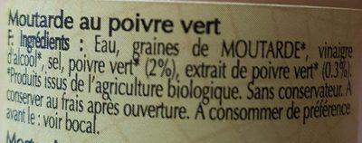 Moutarde forte au poivre vert bio - Ingredients