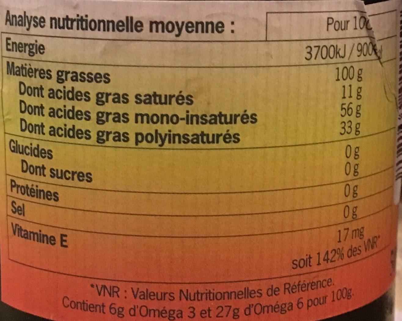 Cocktail d'huiles vierges biologiques Oméga3 - Informations nutritionnelles - fr