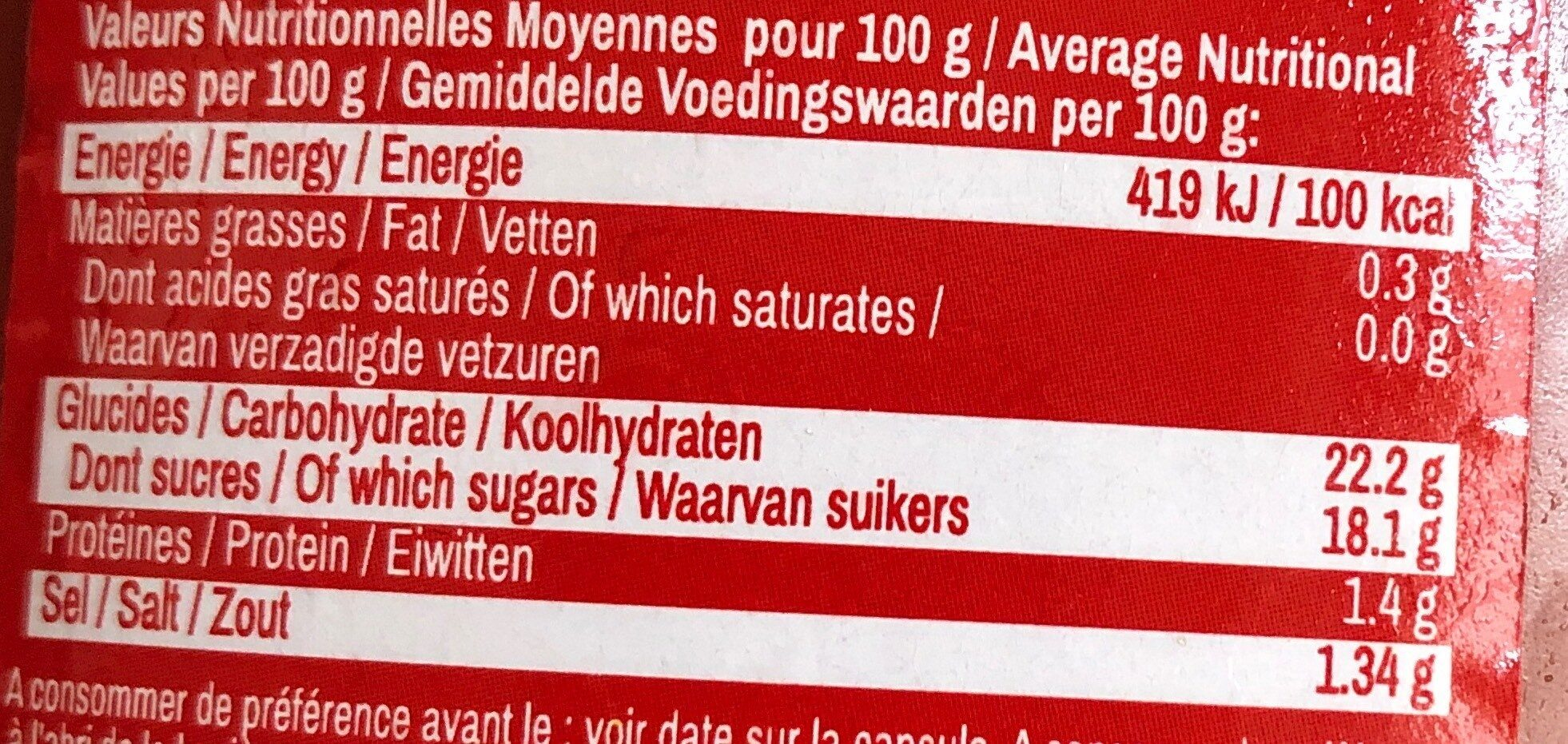 Ketchup Bio - Informations nutritionnelles - fr