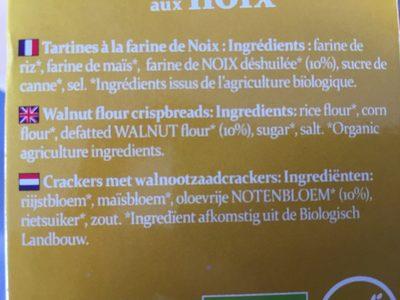 Tartines bio craquantes aux noix - Ingredients