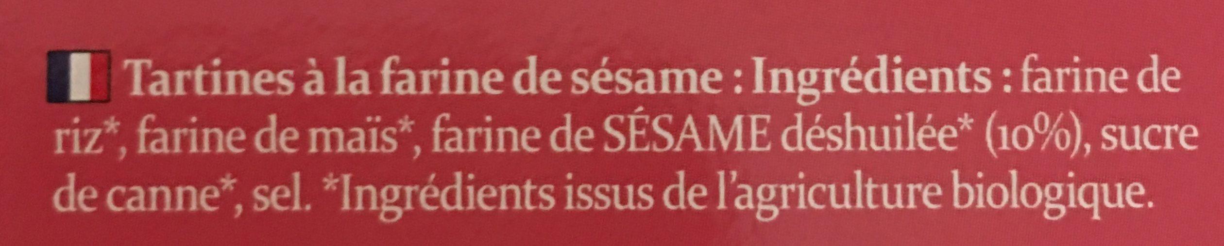 Tartines Bio Craquantes au Sésame - Ingrediënten