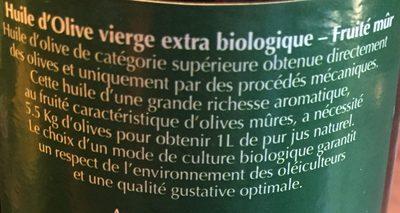 Huile olive vierge extra bio, extraite à froid, fruité mur - Ingrédients - fr