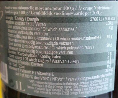 Epicerie / Huiles Alimentaires Bio / Huiles De Colza Bio - Informations nutritionnelles - fr