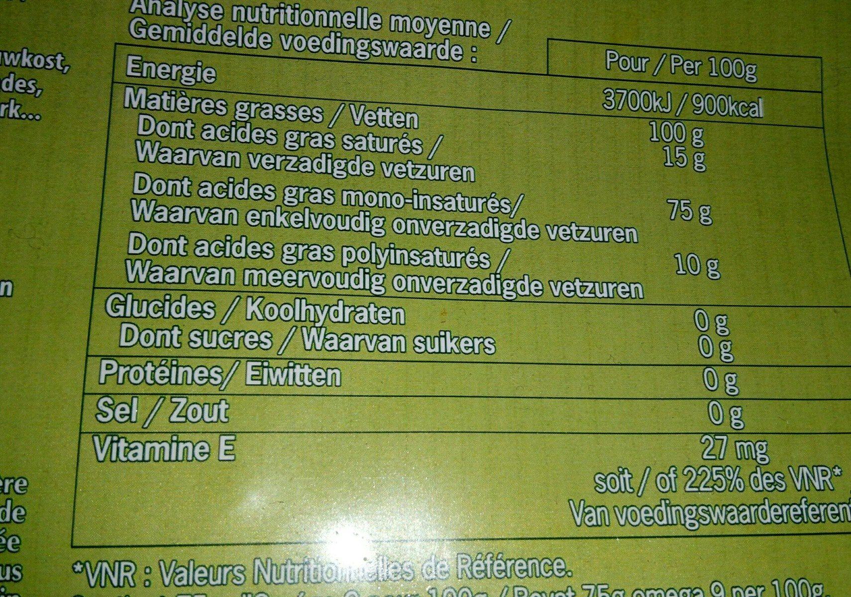 Epicerie / Huiles Alimentaires Bio / Huiles D'olive Bio - Ingrédients