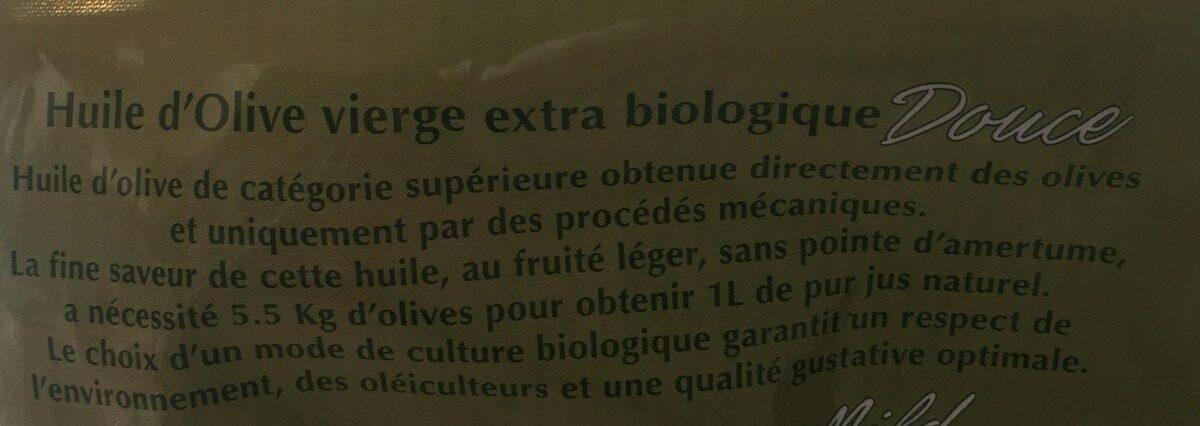 Huile vierge extra biologique - Ingrédients - fr