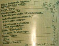 Huile vierge extra biologique - Informations nutritionnelles - fr