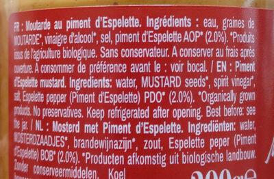 Moutarde au piment d'Espelette - Ingredienti - fr