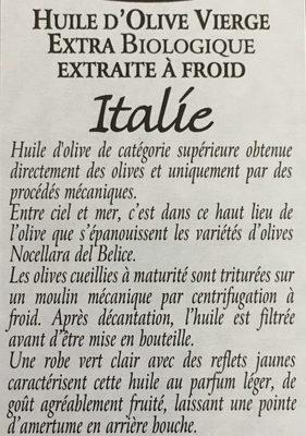 Huile d'olive vierge extra Italie et Sicile, bio - Ingrédients - fr