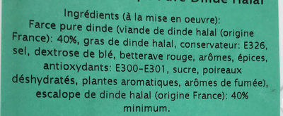 Paupiettes pure dinde Halal - Ingredients