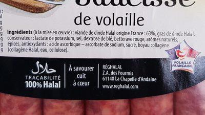 Saucisses de volaille - Ingrédients - fr