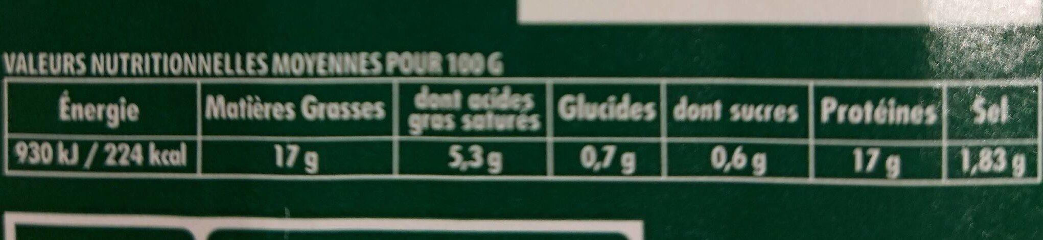 Saucisses de volaille - Informations nutritionnelles - fr
