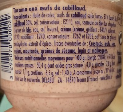 Tarama aux œufs de cabillaud - Voedigswaarden
