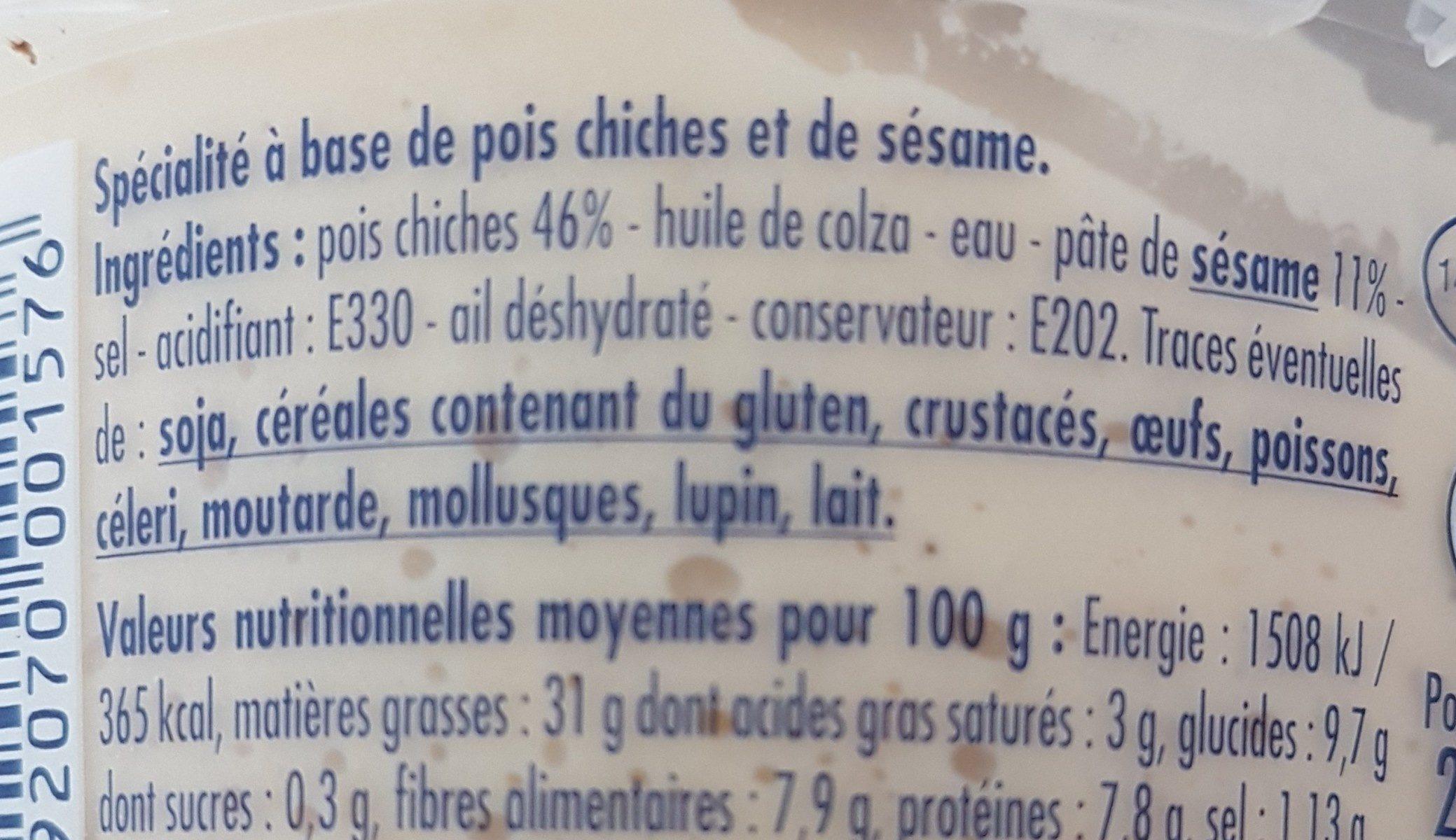 Houmous - Ingrediënten