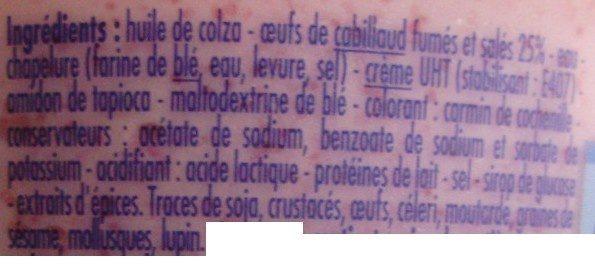 Tarama léger aux oeufs de cabillaud (25 %) - Ingredients