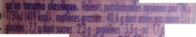Tarama léger aux oeufs de cabillaud (25 %) - Nutrition facts