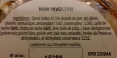 Mini involtini speck italien & ricotta - Ingredients