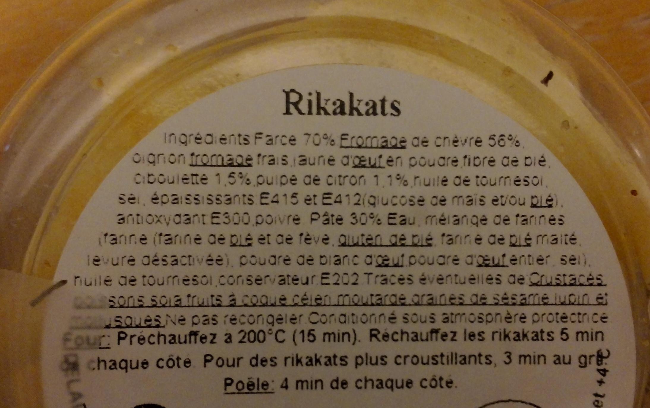 5 rikakats fromage de chèvre, citron & ciboulette - Voedingswaarden - fr
