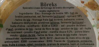 6 Boreks - Ingrédients