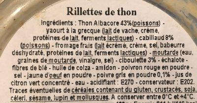 Rillettes extra thon albacore poivre et ciboulette - Ingrédients - fr