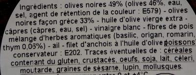 Tapenade extra olives et thym - Ingrédients