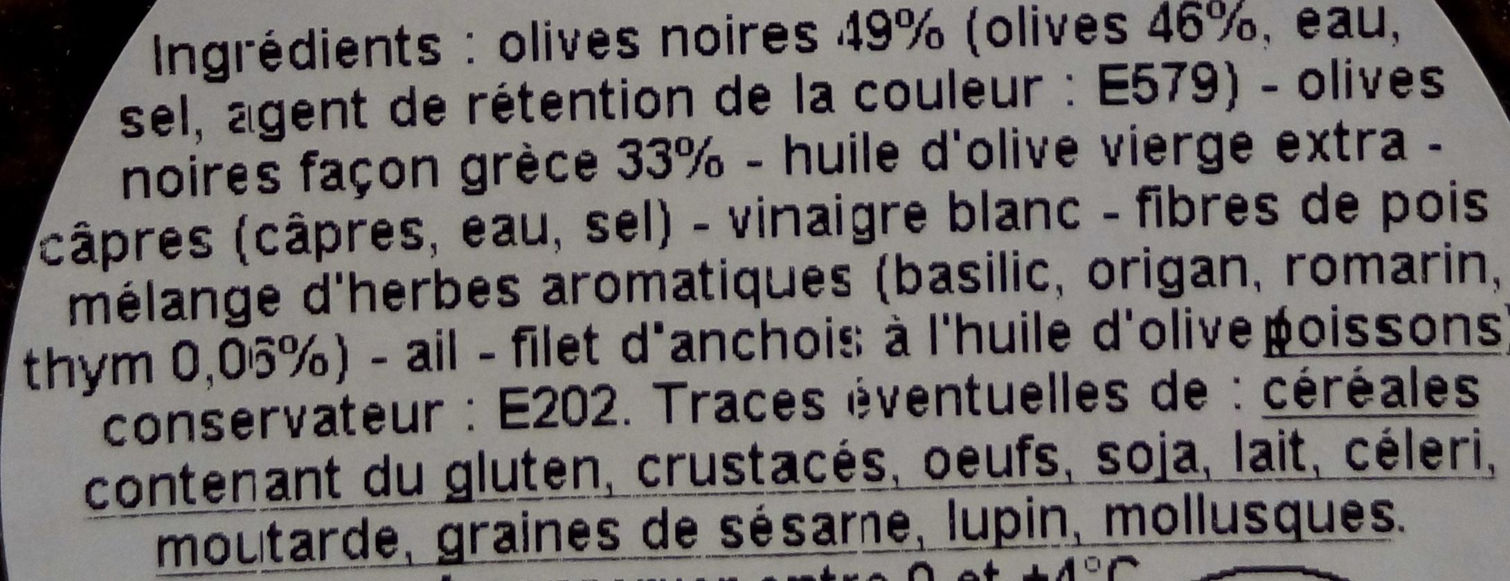 Tapenade extra olives et thym - Ingrédients - fr