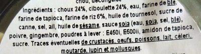5 Gyoza Légume Vert & Ciboulette - Ingrédients