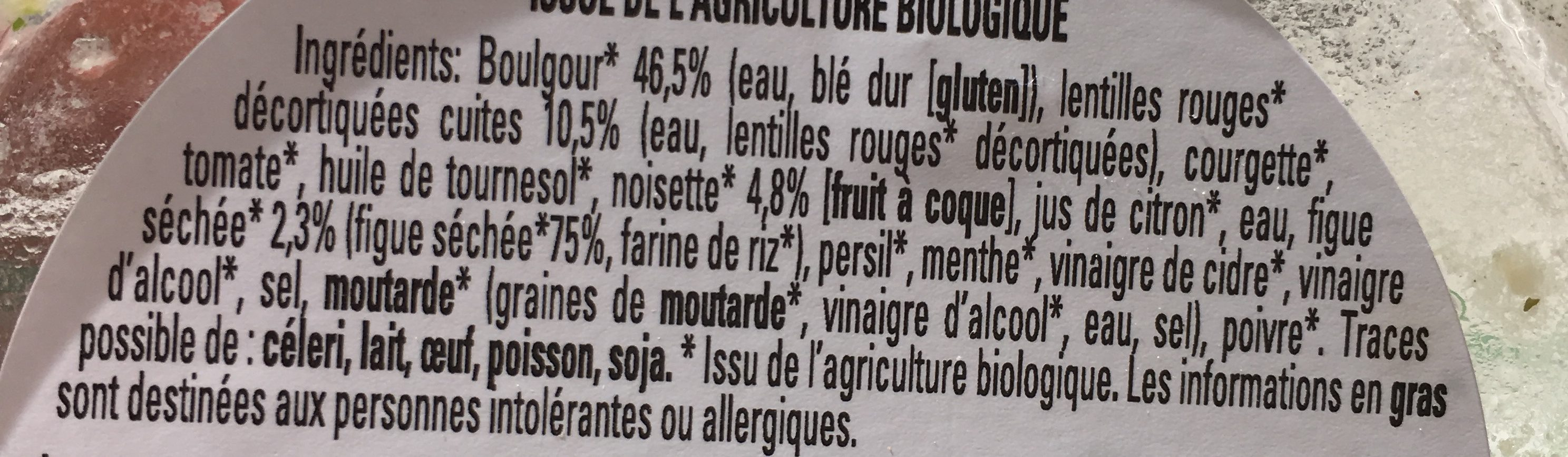 Taboulé bio aux fruits secs - Ingredients
