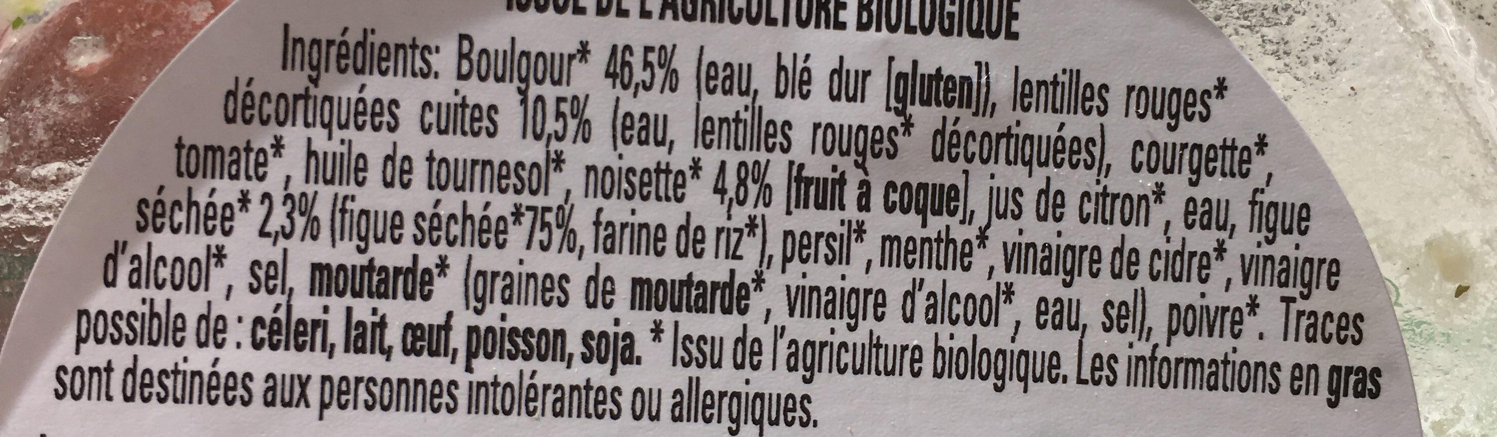 Taboulé bio aux fruits secs - Ingrediënten
