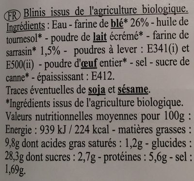 16 blinis bio sarrasin & blé tendre - Ingrédients - fr