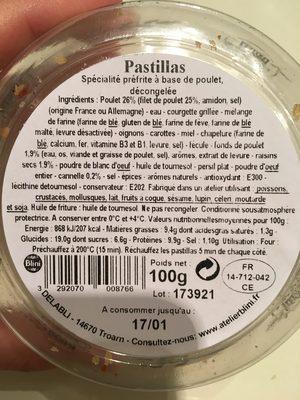 Pastillas - Ingrédients - fr