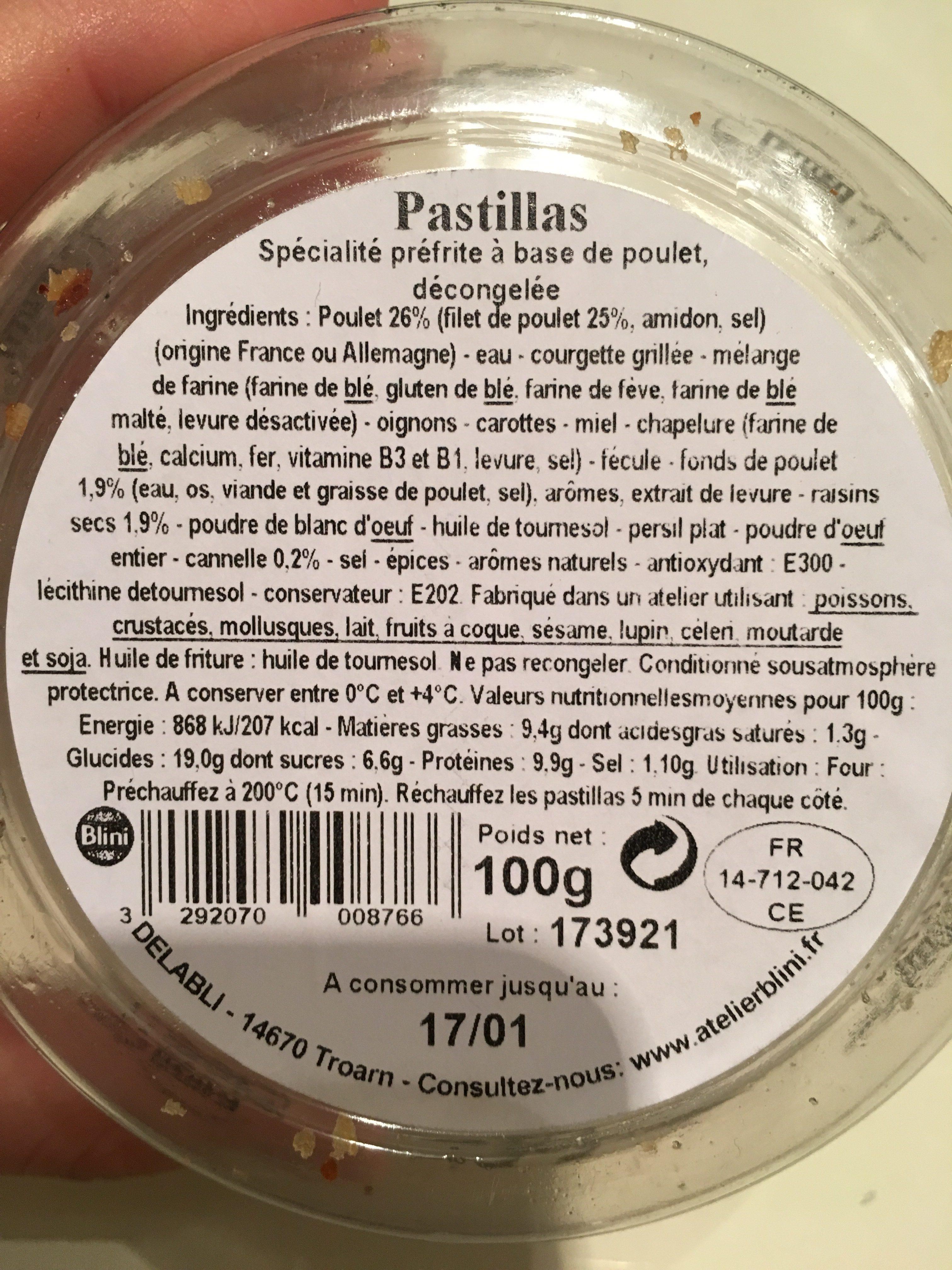 Pastillas - Ingrédients