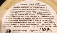 Houmous extra au citron confit - Nutrition facts