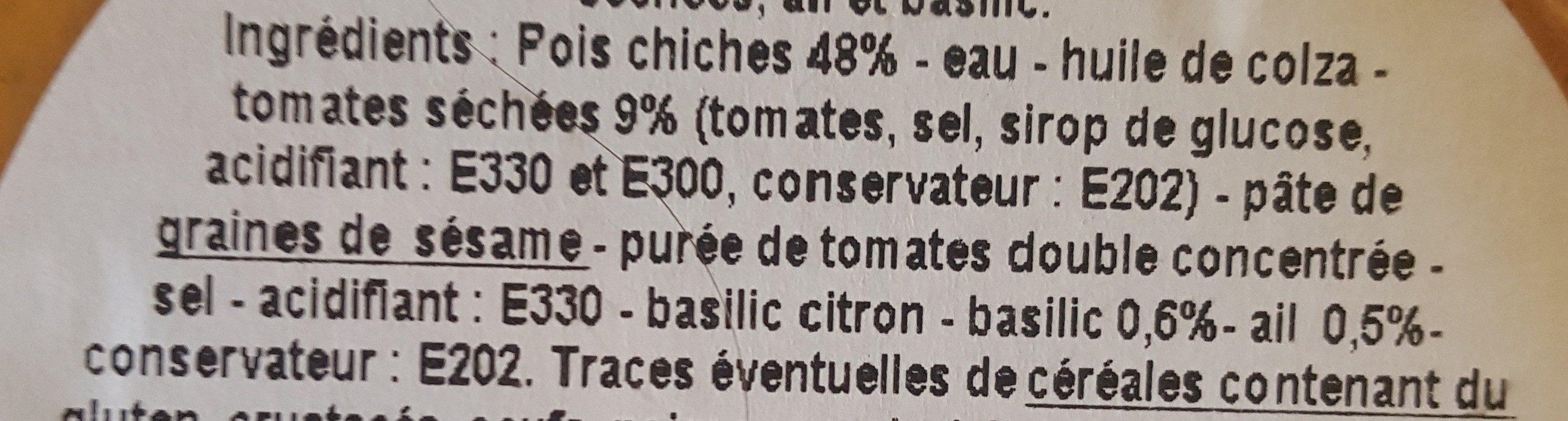 Houmous extra aux tomates sechees - Ingrédients
