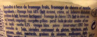 Dip fouetté chèvre menthe - Ingrédients - fr