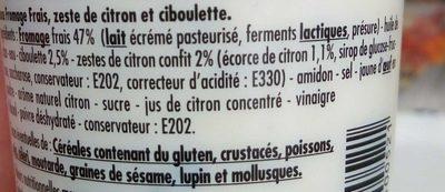 Sauce pour saumon Citron & ciboulette - Ingredients
