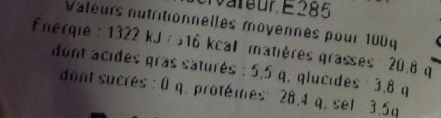 Caviar d'Aquitaine - Nutrition facts - fr
