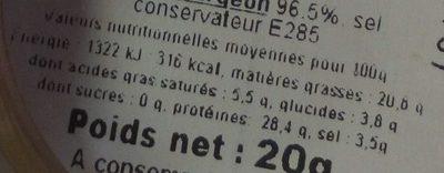 Caviar impérial - Nutrition facts - fr