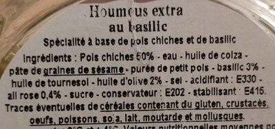 Houmous extra au basilic - Ingrediënten - fr