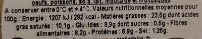 Houmous extra au basilic - Voedingswaarden - fr