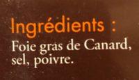 Foie Gras de Canard Entier mi-cuit du Sud-Ouest - Ingredients