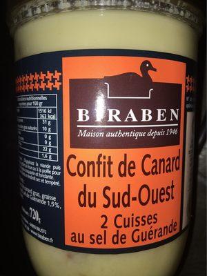 Confit de canard du Sud Ouest au sel de Guerande BIRABEN, 2 cuisses - Product