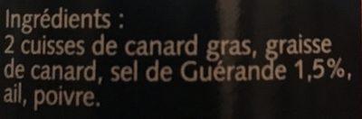 Confit de canard du Sud Ouest au sel de Guerande BIRABEN, 2 cuisses - Ingredients