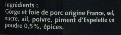 Pâté Recette Basque au Piment d'Espelette - Ingredients - fr